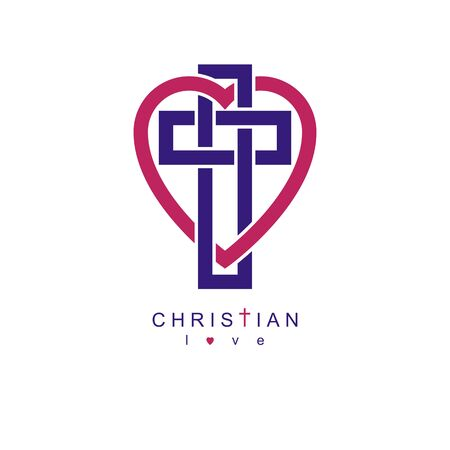 Christian Love and True Belief in God vector creative symbol design, combined with Christian Cross and heart. Illustration