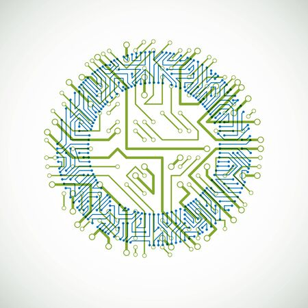 Vector abstract colorful technology illustration with round green and blue circuit board. High tech circular digital scheme of electronic device.