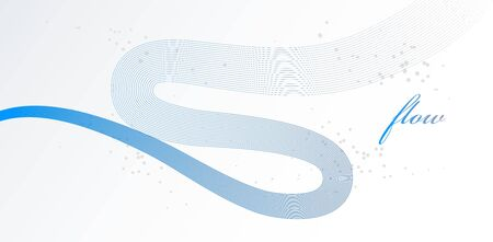 Elegant blue lines vector dimensional abstract background, 3D dynamic curve stripes in motion beautiful design element, template for banner or poster and other ads.  イラスト・ベクター素材