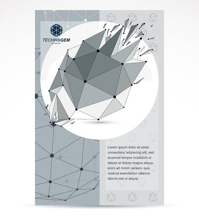 Communication technologies business corporative flyer template. Graphic vector illustration. Abstract 3d polygonal grayscale wireframe shattered object, geometric low poly design element.