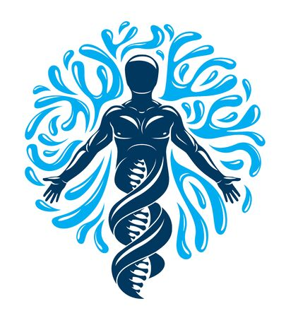 Vector graphic illustration of strong male created as scientific model of human DNA and surrounded by a water ball. Environment conservation and protection.