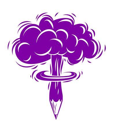 Bleistift mit nuklearer Explosionspilzform, kreativer Explosion oder Energiekonzept, explodierende Kreativität, Vektorkonzeptionell.