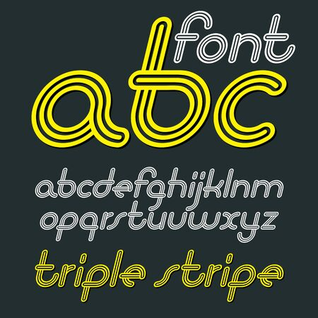 Vector retro lowercase English alphabet letters, abc collection. Cool disco cursive font, script from a to z can be used in poster art. Made with triple stripy decoration. Ilustrace