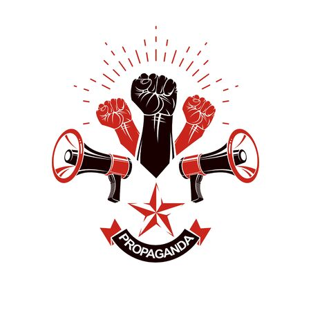 Vector emblem created with fist of strong man and loudhailers equipment. People demonstration, fighting for their rights and freedom.