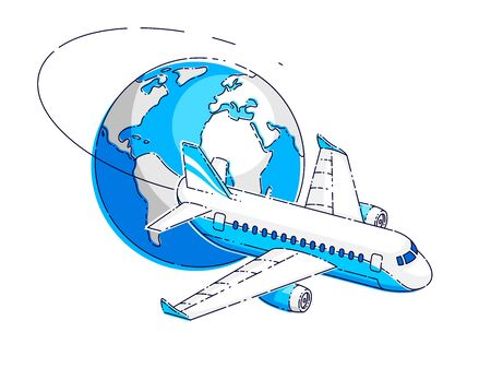 Plane airliner with earth planet, airlines air travel emblem or illustration. Beautiful thin line vector isolated over white background.