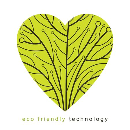 Art vector graphic illustration of modern digital tree in the shape of heart, technology innovation abstract design. Technology and nature interaction metaphor.