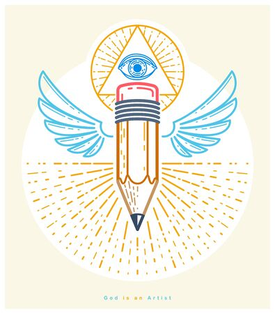 God is a designer concept, pencil with wings and all seeing eye of God in sacred geometry triangle, god is an artist, vector or icon in trendy linear style.