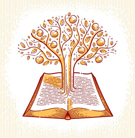 Tree growing from text lines of an open vintage book education or science knowledge concept, educational or scientific literature library vector or emblem.