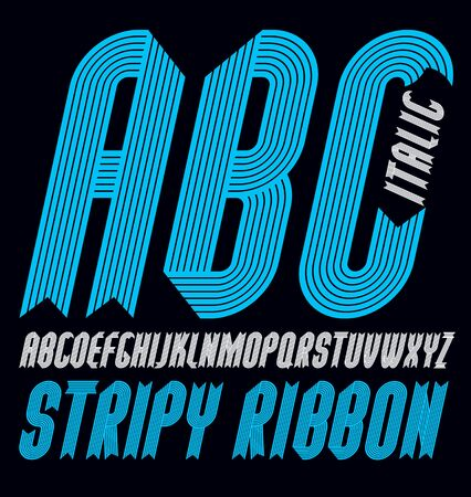 Set of ornate vector upper case alphabet letters isolated. Trendy italic condensed bold font, script from a to z can be used in poster creation. Created using stripy, parallel lines. Çizim