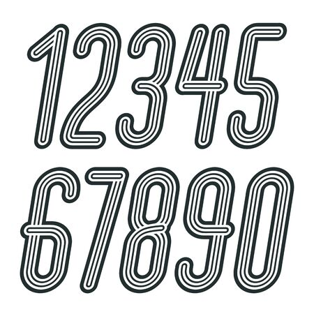Set of stylish disco vector digits, modern numerals collection. Funky italic tall numerals from 0 to 9 best for use in poster art. Made with geometric parallel triple lines.