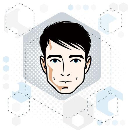 Visage d'homme, tête humaine. Caractère vectoriel, beau mâle brun avec coupe de cheveux élégante.