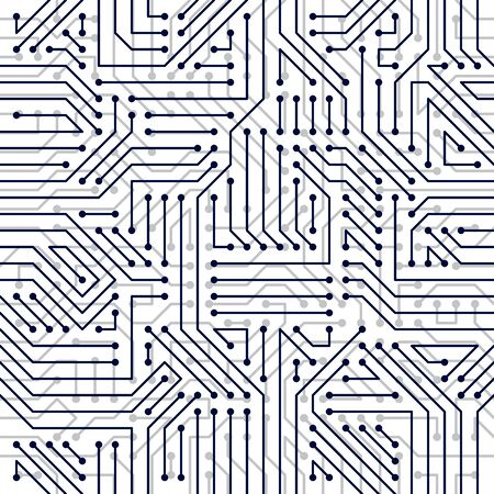 Microchip board seamless pattern, vector background. Circuit board technology electronics wallpaper repeat design. Vector Illustratie