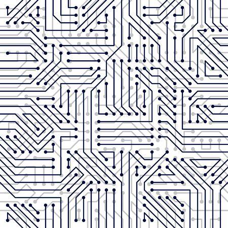 Tarjeta de microchip de patrones sin fisuras, fondo de vector. Diseño de repetición de papel tapiz electrónico de tecnología de placa de circuito. Ilustración de vector