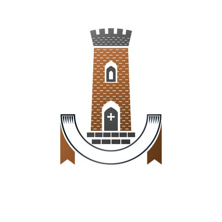 Ancient Bastion emblem. Heraldic vector design element. Retro style label, heraldry. Antique logotype on isolated white background. Ilustrace
