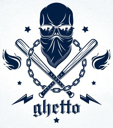 Gangster emblem or tattoo with aggressive skull baseball bats and other weapons and design elements, vector, criminal ghetto vintage style, gangster anarchy or mafia theme.  イラスト・ベクター素材