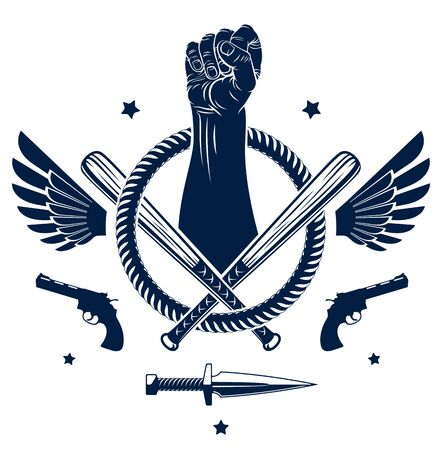 Anarchy and Chaos aggressive emblem or with strong clenched fist, weapons and different design elements , vector vintage style tattoo, rebel rioter partisan and revolutionary.