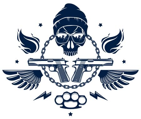 Revolution and Riot wicked emblem or with aggressive skull, weapons and different design elements , vector tattoo, anarchy and chaos, rebel partisan and revolutionary. Ilustração
