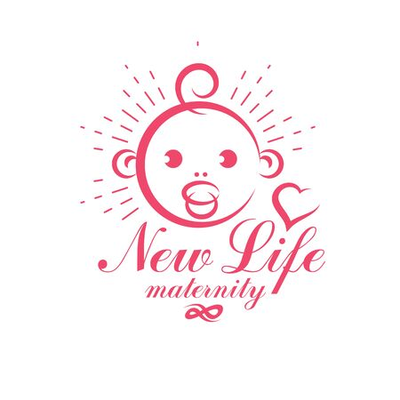 Cute smiling baby face vector emblem. Maternity and new life concept. Prenatal center and motherhood preparing clinic abstract emblem Illustration
