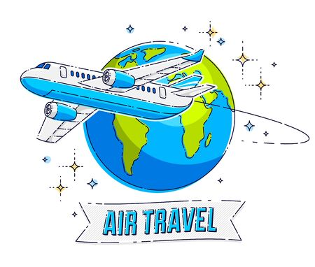 Plane airliner with earth planet and ribbon with typing, airlines air travel emblem or illustration. Beautiful thin line vector isolated over white background. 向量圖像