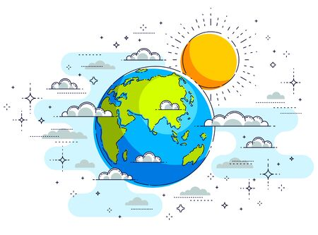 Earth in the sky surrounded by clouds beautiful thin line illustration isolated over white background, vector. 向量圖像