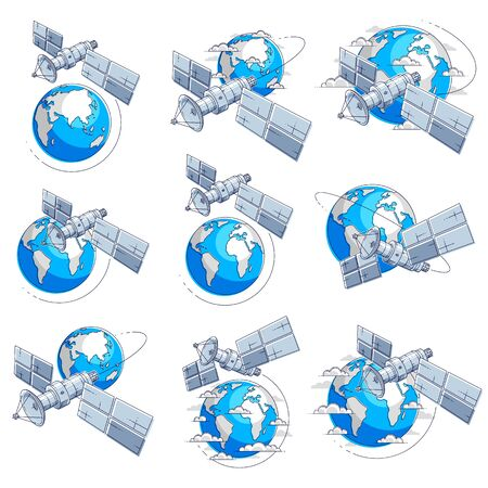 Satellites flying orbital flight around earth, communication technology spacecraft space station with solar panels and satellite antenna plate. Thin line 3d vector illustrations set isolated.