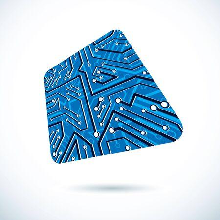 Vector technology cpu design with square microprocessor scheme. Computer circuit board, digital element.