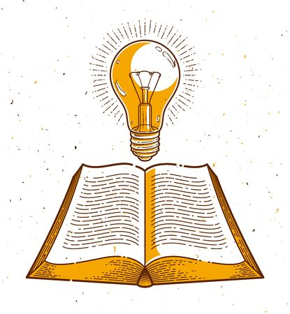 Vintage open book with idea light bulb vector graphic design element, science and education literature concept, logo or icon or emblem trendy linear style.