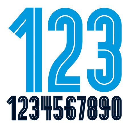 Modern vector bold digits, funky numerals made with white lines, can be used in poster design as newspaper advertising.