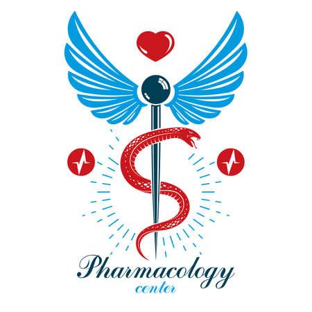 Caduceus vector conceptual logo made using heart shape and an ecg chart. Cardio rehabilitation center vector logotype for use in healthcare business.