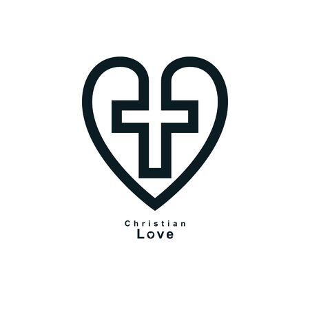 True Christian Love and Belief in God, vector creative symbol design, combined Christian Cross and heart, vector logo or sign. Logo