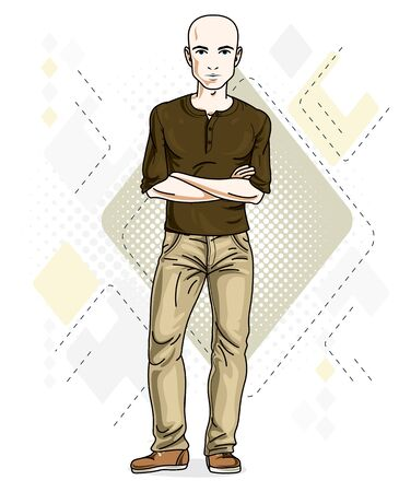 Happy bald young adult man standing. Vector character wearing casual clothes like jeans and T-shirt.