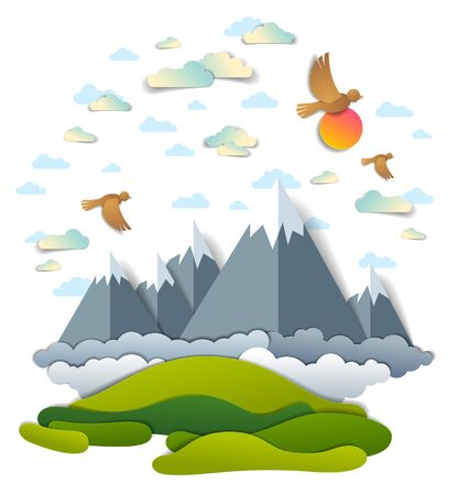 High mountain peaks range scenic landscape of summer with clouds birds and sun in the sky, paper cut style childish illustration, holidays, travel and tourism theme. Фото со стока - 134383937