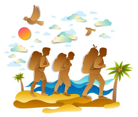 Happy active family hiking through sea beach with palms and sea waves in background, birds in the sky. Father mother and son hikers having time of retreat in nature, summer holidays, vector. Фото со стока - 134383939