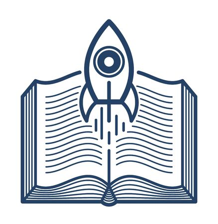 Open book with launching rocket vector linear icon, missile start up from text, space scientific literature library reading line art symbol or logo. Illusztráció