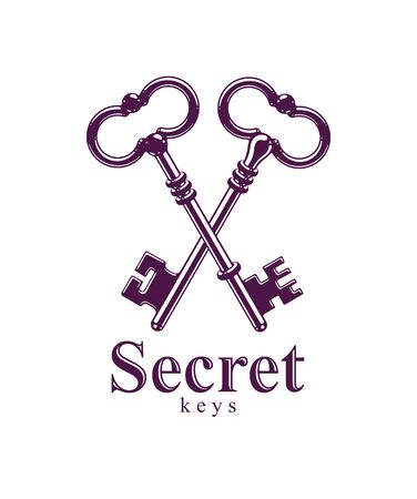 Crossed keys, protected secret, electronic data protection, keys to heaven, hotel label, vintage antique turnkeys vector logo or emblem. Stock fotó - 134383988
