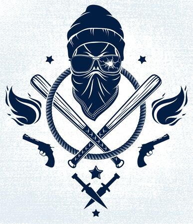 Logo ou tatouage d'emblème de gangster avec des battes de baseball agressives de crâne et d'autres armes et éléments de conception, vecteur, style vintage de ghetto criminel, anarchie de gangster ou thème de mafia.