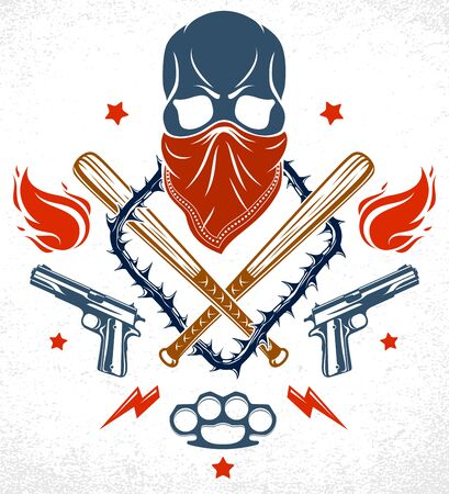 Gangster emblem logo or tattoo with aggressive skull baseball bats and other weapons and design elements, vector, criminal ghetto vintage style, gangster anarchy or mafia theme.  イラスト・ベクター素材