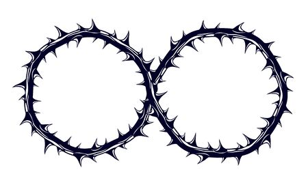 Infinity symbol made from blackthorn thorn vector sign logo or tattoo. Stock fotó - 134384048