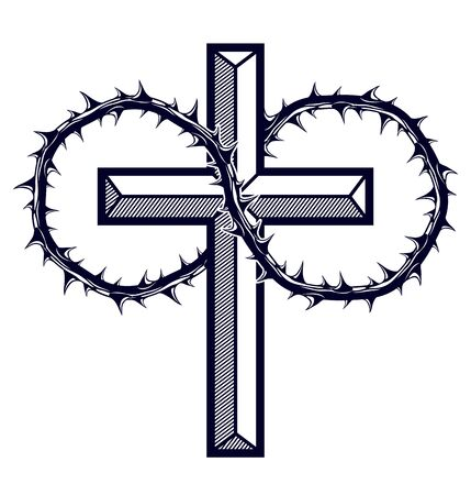 Christian cross with blackthorn thorn vector religion logo or tattoo, passion of the Christ. Stock fotó - 134384001
