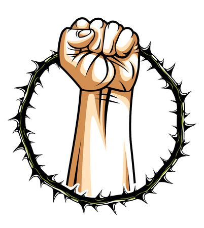 Strong hand clenched fist fighting for freedom against blackthorn thorn slavery theme illustration, vector logo or tattoo, through the thorns to the stars concept.