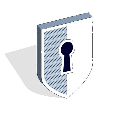 Protection Shield isolated on white background. Vector 3d isometric illustration, thin line design.