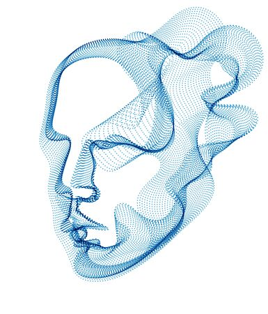 Spirit of digital electronic time, Artificial Intelligence vector illustration of human head made of dotted particles wave lines, particle flow, technological soul of machine. Vector Illustration