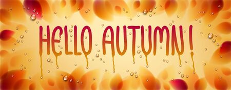 Hello autumn word drawn on a window, yellow and red leaves and water rain drops or condensate macro, vector 3d realistic transparent illustration, fall nature beautiful art. 向量圖像