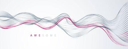 Wellenlinie fließender Partikel abstrakter Vektorhintergrund, glatte kurvige Formpunkte flüssiges Array. 3D-Form Dots Blended Mesh, entspannende Tapete der Zukunftstechnologie.