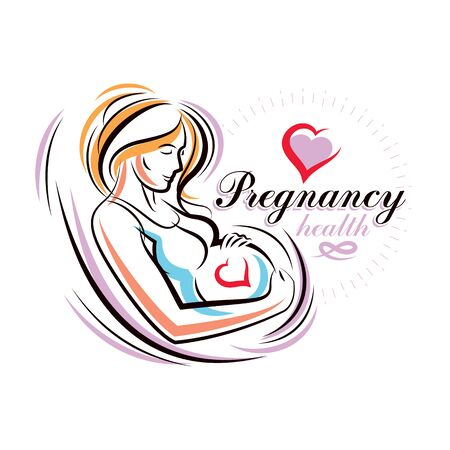 Elegant pregnant woman body silhouette drawing. Vector illustration of mother-to-be fondles her belly. Reproduction clinic advertising 일러스트
