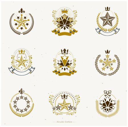 Pentagonal Stars emblems set. Heraldic Coat of Arms, vintage vector logos collection. Foto de archivo - 134804116