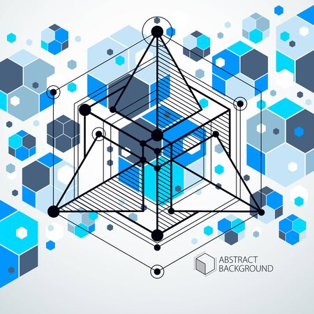 Mechanical scheme, blue vector engineering drawing with 3D cubes and geometric elements. Engineering technological wallpaper made with honeycombs. Ilustracja