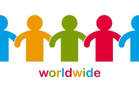 Worldwide people global society concept, different races solidarity, we stand as one, togetherness and friendship allegory, world unity cooperation, vector illustration logo or icon. 向量圖像