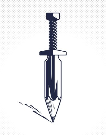 Idea is a weapon concept, weapon of a designer or artist allegory shown as sword with pencil instead of blade, creative power, vector logo or icon.  イラスト・ベクター素材