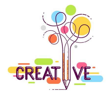 Creative word with pencil instead of letter I, ideas and creativity concept, vector conceptual logo or poster made with special font.